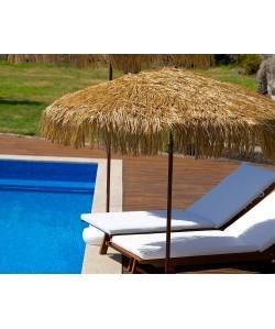 Parasol Palloza Ø2M en raffia, mat acier finition imitation bois