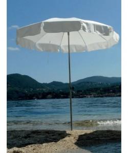 Parasol Beach Ø180cm mat inox droit, avec ou sans bas volet BLANC