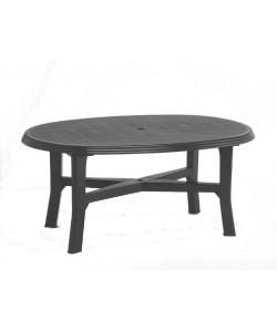 Table Danubio Anthracite ovale 165x110cm résine de synthèse