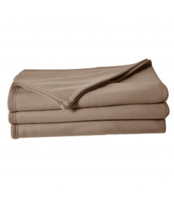 Couverture polaire 100% polyester, 180x220cm TAUPE CAMEL