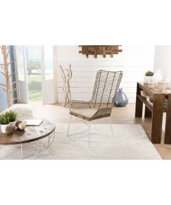 Fauteuil lounge rotin et métal blanc