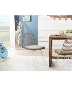 Lot de 2 chaises urban  en rotin et métal blanc  avec coussin
