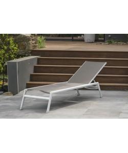 Bain de soleil Mayotte, en aluminium blanc, toile textilène