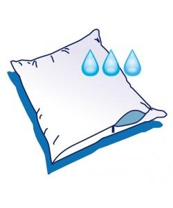 Housse d'oreiller 60x60cm imper. enduction polyuréthane avec zip, blanc