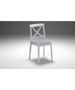 Chaise Artemide Blanc, assise textilène Bleu Ciel