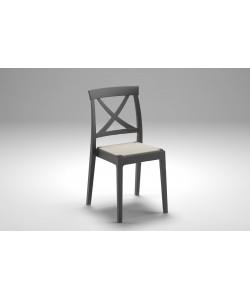 Chaise Artemide Anthracite, assise textilène Nougat