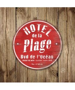 Tableau 40x40 Hôtel de la Plage Rouge