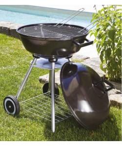 Barbecue charbon de bois avec couvercle, Ø46cm acier sur 3 pieds