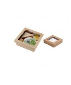 Couvercle avec fenêtre pour boite à Salade U0101S1 biodégradable amidon de maïs (carton 300 pcs)