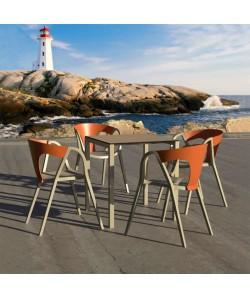 Table IBIZA Métal pied Taupe et plateau 70x70cm imitation bois