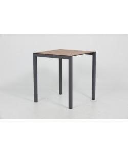 Table IBIZA Métal pied Noir et plateau 70x70cm imitation bois
