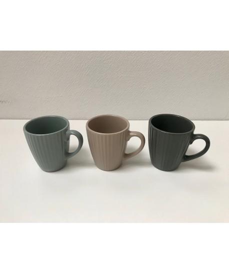 Pack tasse café, thé COTTAGE 21cl 3 coloris assortis