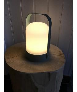 Lampe Nomade avec poignée métal H18, Ø11cm vert jade