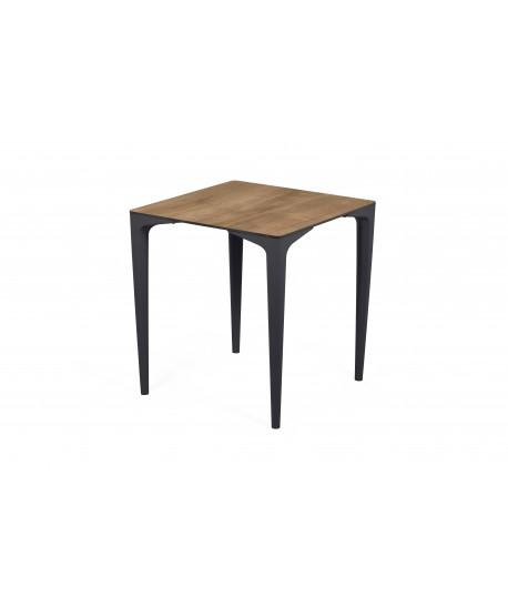 Table Javéa pied polypro anthracite et plateau 70x70cm imitation bois