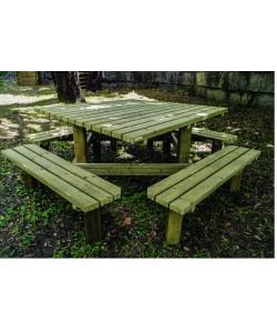 Table de pique-nique bois Quadro 200x200cm